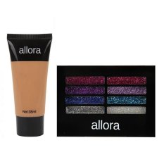 Allora Glitter Creme Eyeshadow Palette 2g (Colour Burst) with  Allora Liquid Foundation 35ml (Warm Beige) Bundle Philippines
