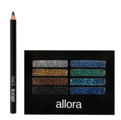 Allora Glitter Creme Eyeshadow Palette 2g (Galaxy) with  Allora Automatic Pencil Eyeliner (Manual) Bundle