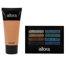 Allora Glitter Creme Eyeshadow Palette 2g (Galaxy) with  Allora Liquid Foundation 35ml (Natural Beige) Bundle Philippines