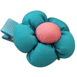 Buytra Cute Flower Hair Clips Kids Candy Color  Blue