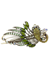 Buytra Women Hair Clips  Vintage Rhinestone Peacock Green