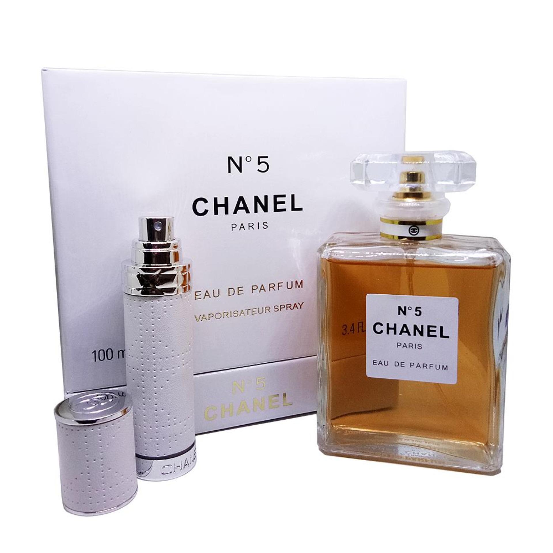 Chanel N5 Eau De Parfum 100ml With Travel Size Atomizer Bottle 75