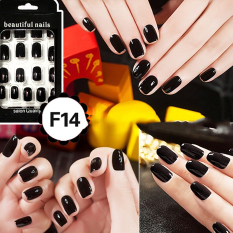 Cheap Fashion Fake Nails False Tips Full Acrylic French Art Designer 24 Pcs Nail Black - intl Philippines