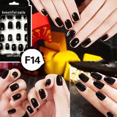 Cheap Fashion Fake Nails False Tips Full Acrylic French Art Designer 24 Pcs Nail Black - intl Philippines
