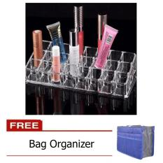 Clear Acrylic 24 Lipstick Tray Cosmetic Organizer Stand Display Holder with FREE Bag Organizer Philippines