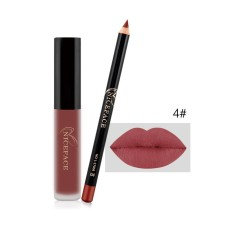 Cosmetic Lipliner Pen Pencil + Matte Lip Gloss Fashion Makeup Waterproof Hot D - intl Philippines