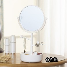 Desktop double-sided cosmetic mirror, creative home, 360 degree rotating dressing mirror, cosmetic storage box, jewelry rack - intl Philippines