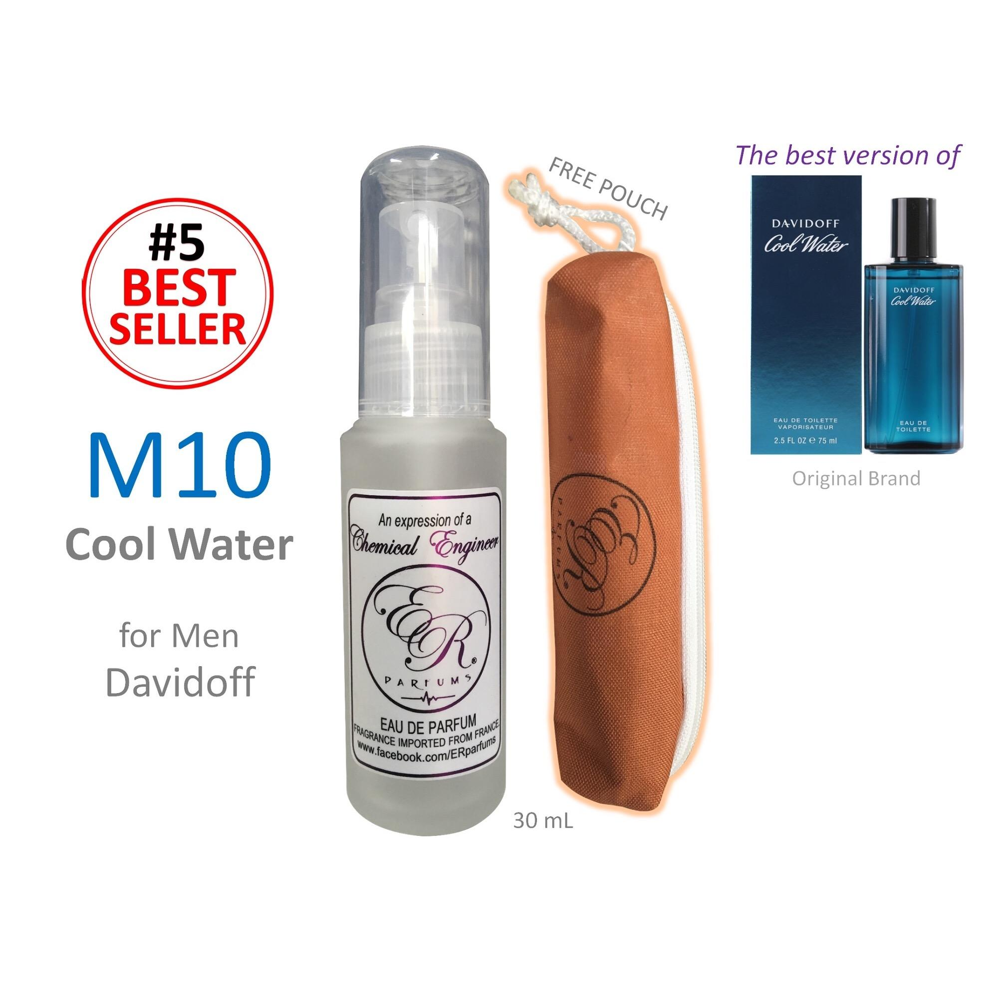 ER PARFUMS M10 Cool Water for Men by Davidoff 1 piece 30 ml perfume with free pouch (Best Seller) - thumbnail