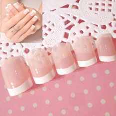 Fashion Natural French Nails 24 Pcs Short False Nails Acrylic Nail Art Tools - intl Philippines