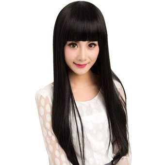 Flat Bangs Long Straight Hair Wig for Cosplay Party Halloween Christmas Black