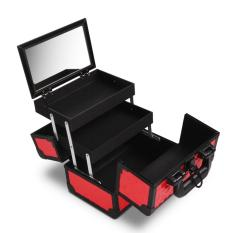 Gladking Philippines Portable Makeup Train Case Small Cosmetic Organizer Box with Mirror and Trays Red Philippines