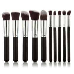 Hanyu Lady 10 Pieces Makeup Brush Face Beauty Tools Black/Silver