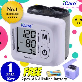 iCare® CK-102S Blood Pressure Monitor Wrist Type Auto Heart Beat Rate Pulse Meter with Case