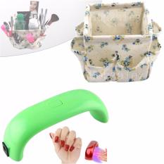 LED 9W Nail Polish Dryer UV Lamp (Apple Green) with Cloth Make Up Storage Box Container Cosmetics Organizer (Floral Blue) Philippines