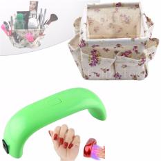 LED 9W Nail Polish Dryer UV Lamp (Apple Green) with Cloth Make Up Storage Box Container Cosmetics Organizer (FloralViolet) Philippines