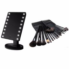 LED Touch Screen Makeup Mirror Portable 16 LEDs (Black)  with  24pcs Brush (Black) Philippines