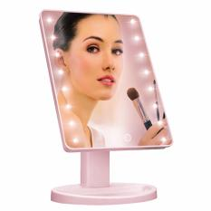 LED Touch Screen Makeup Mirror Professional Vanity Mirror With 16 LED Lights Health Beauty Adjustable Countertop 180 Rotating (Pink) Philippines
