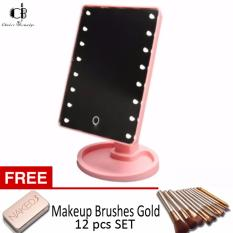 LED Touch screen Vanity Mirror (Pink) w/ FREE Make Up Brushes Gold (12 pcs) Philippines