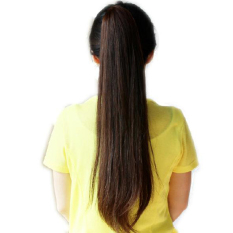 Long Lady Girl Straight Ponytail Wigs Hair Hairpiece Extension Dark Brown 2d92a86e5