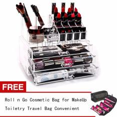 LOVE&HOME Acrylic Makeup Cosmetics Organizer 3 Drawer Free Roll n Go Cosmetic Bag for Make Up Toiletry Travel Bag Convenient (Black) Philippines