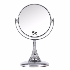 Mini-makeup mirror double-sided make-up mirror surface 5 times magnification beauty makeup tower small mirror - intl Philippines