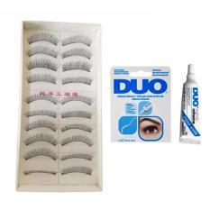 Natural Black Long False Eyelashes (10 Pairs) with Duo Striplash Eyelash Glue Clear White Philippines