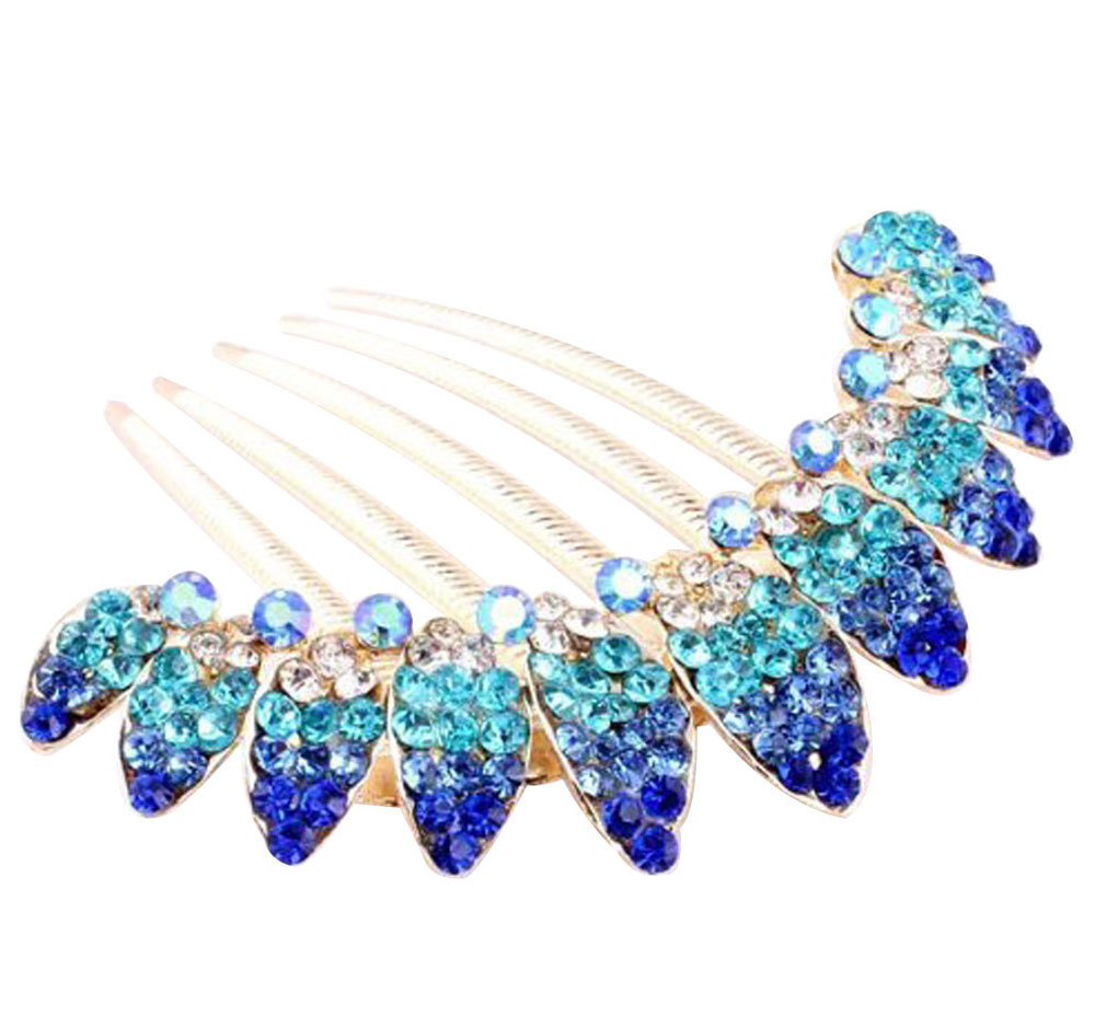 NiceEshop Beautiful Fashion  Blue Flowers Crystal Hair Clips