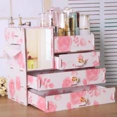 Phoebes Wooden Triple Drawer DIY Make Up Collection Organizer(Pink Rose) Philippines