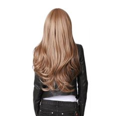 PLATIM Fashion Stylish Long Full Bangs Curly Wavy Party Lady Girl Yellow Flax Hair Wig