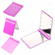 Pocket Makeup Mirror With LED Light (Pink) Philippines