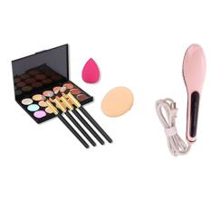 Professional 15 Colors Contour Face Cream Makeup Concealer Palette + 4pcs Powder Brushes With Free Makeup Sponge Blender and HQT-906 Fast Hair Straightening (Light Pink) Philippines