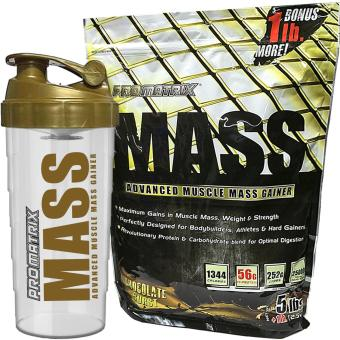 Promatrix Mass Advanced Muscle Mass Gainer Chocolate 5lbs + 1lb Bonus with Free Shaker