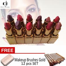 Queens Secret Kissable Lips Matte Lipstick 12PCS (Multicolor) w/ FREE Make Up Brushes Gold (12 pcs) Philippines