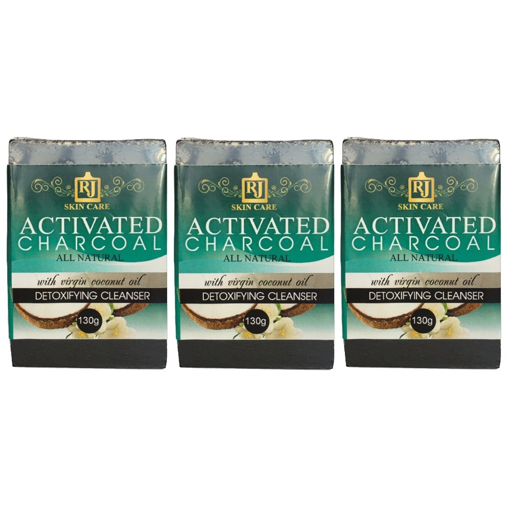 RJ Skin Care Activated Charcoal Soap 130g Set of 3 - thumbnail