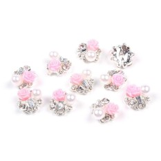 So Beauty 10 Pieces 3D Nail Art with Rhinestone and Artificial Pearl Slices Glitters DIY Decorations  - Intl Philippines