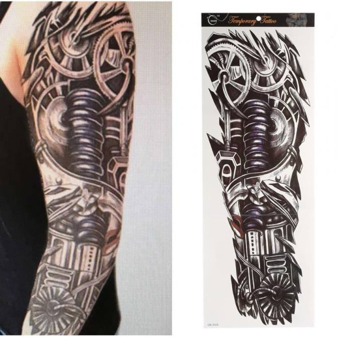 Temporary Fake Full Arm Neck Body Art Tattoo Transfer Sticker Qb 3008 Intl Lazada Singapore