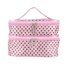 Two Layer Hanging Dot Zip Cosmetic Bag Makeup Pouch Travel Toiletry Organizer Handbag Pink Philippines