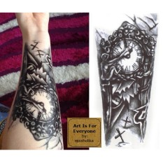 Vintage Clock - Art Is For Everyone! by:missholika Premium Quality 3D Temporary Tattoos QC-604 Philippines