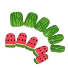 Watermelon Pattern Artificial Nail Art Set of 24 - intl Philippines