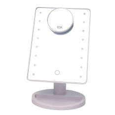 White 16 LED Battery Operated Cordless Touch Screen Lighted Vanity Cosmetic Makeup Mirror With LED Lights 10X Magnification Spot Mirror - intl Philippines