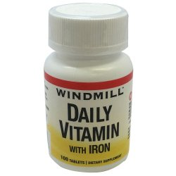Windmill Daily Vitamin with Iron Tablets Bottle of 100