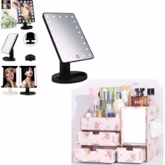 XR-1608 Make Up Vanity Illuminated Desktop Table Makeup Stand Large LED Mirror with 16 LED Light (Black) With Multi-function Wooden Drawer Style Makeup Cosmetics Jewelry Storage Box Case Rack Organizer (Color May Vary) Philippines