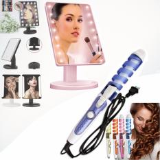 XR-1608 Make Up Vanity Illuminated Desktop Table Makeup Stand Large LED Mirror with 16 LED Light (Pink) with RZ-118 Professional Hair Curler (Blue/White) Philippines