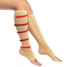 Zipper Compression Socks Zip Leg Support Knee Stockings Sox Open Toe L/xl Beige C583 By Crazy Store.