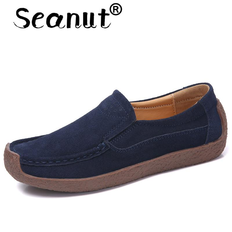 ad6c040e839b Seanut Women Leather Slip On Flats And Loafers Women Breathable Lightwear Shoes  Casual Loafers Breathable Lazy