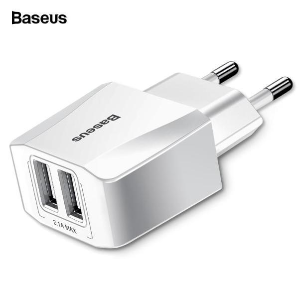 Baseus Bộ sạc USB kép cho iPhone Xs Max X 8 Samsung S10 S9 Bộ điều hợp Xiaomi Mi 9 8 EU Sạc nhanh tường Sạc điện thoại di động