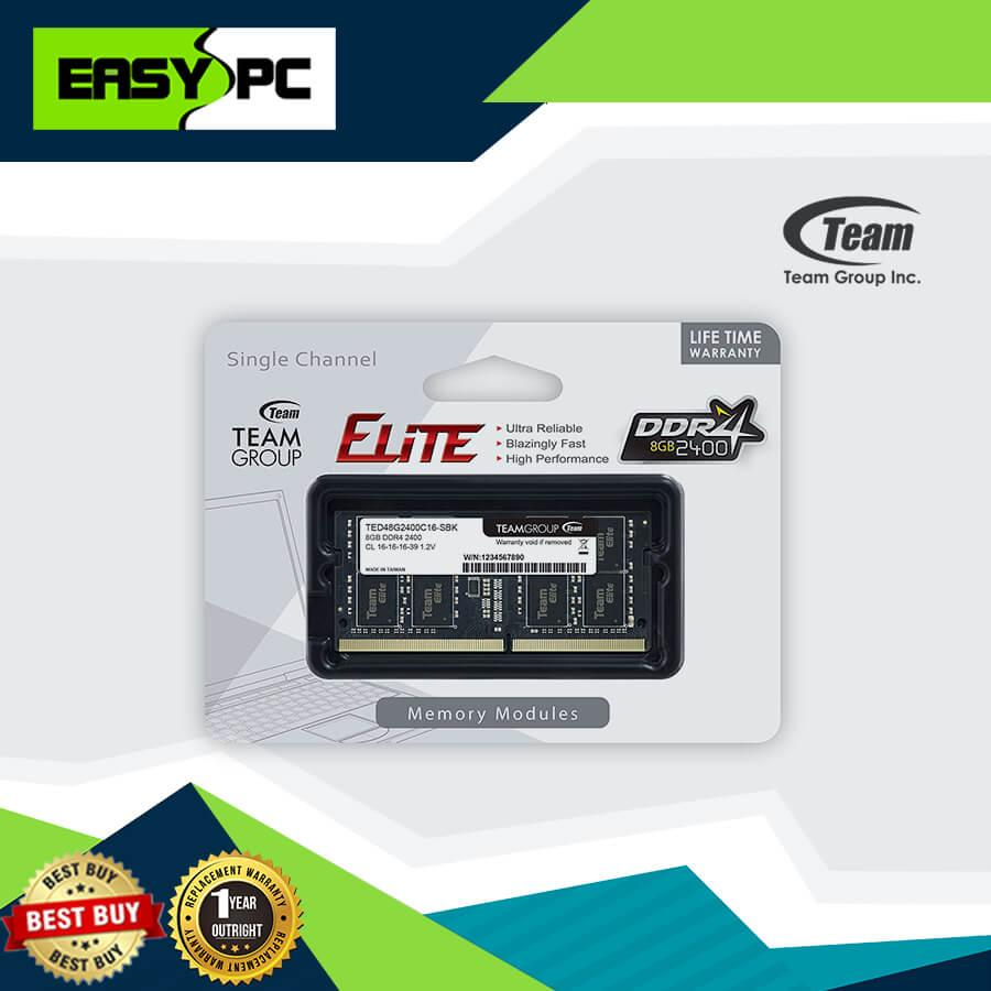Team Elite SODIMM DDR4 2400MHZ 1 X 8GB, Team-Elite SO-DIMM Gaming Memory  for Future upgrade of Laptop memory,Netbook memory and Notebook memory DDR4