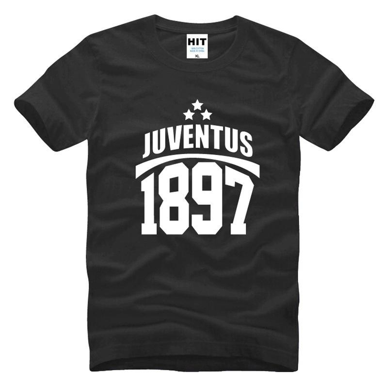 68074f479 2017 New Cotton Men s Short Sleeve T-shirt Print Juventus 1897 Letter T  Shirts