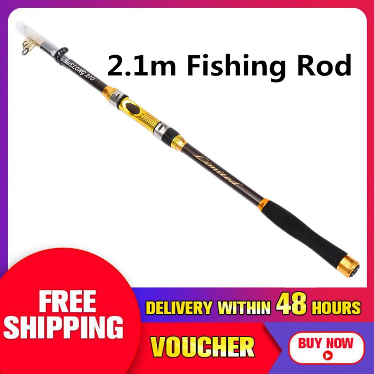 【Free Shipping +Flash Deal】Fishing Rod Travel Spinning Pole 2.1m + Bag