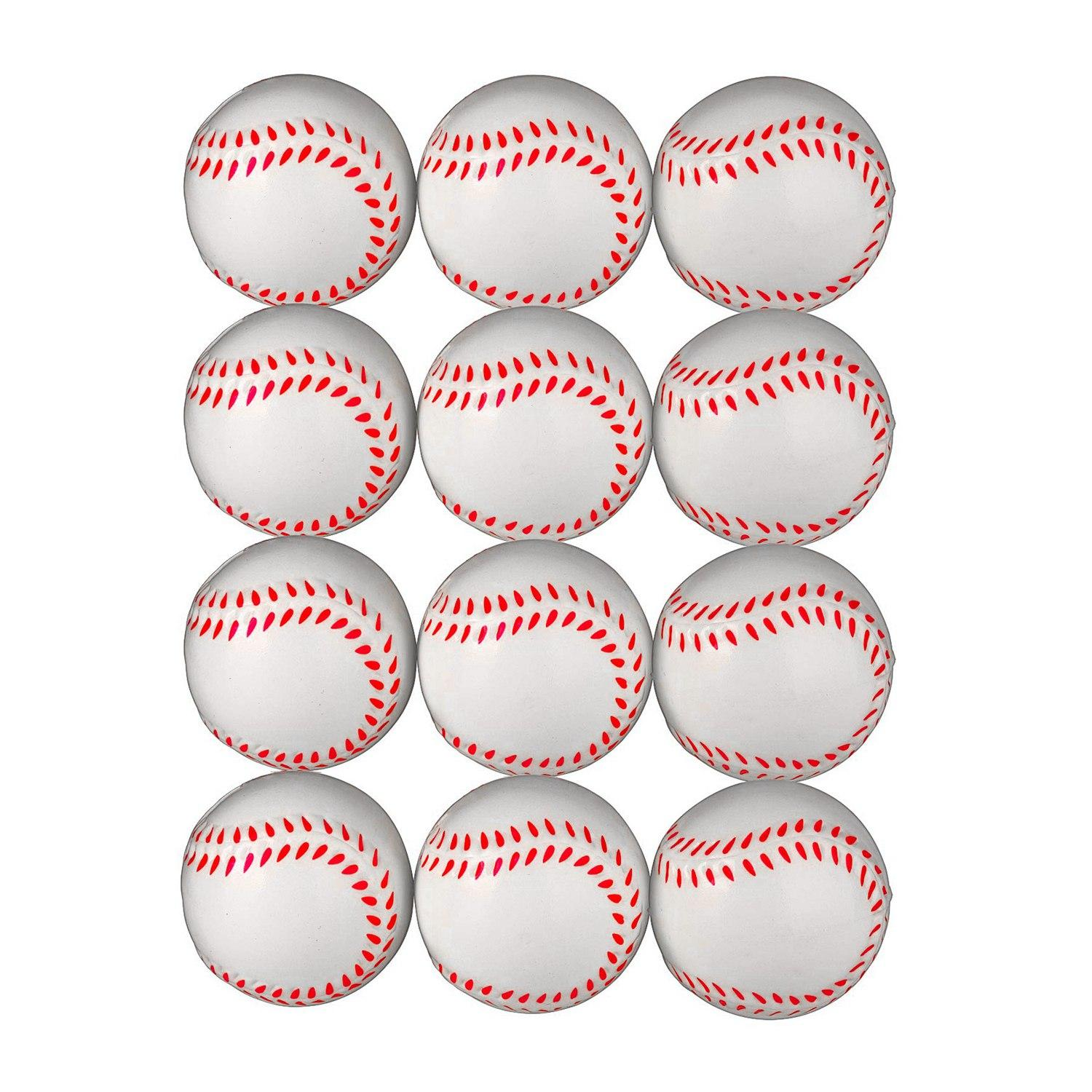2 Sports Themed Foam Baseball Toys and Squeeze Stress Relief Balls Pack of 24 Bulk Party Favor Supplies /& Gifts for Kids Bedwina Mini Soft Baseballs
